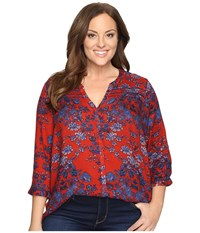 Lucky Brand Plus Size Vintage Print Top Red Multi Women's Clothing