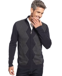 Tasso Elba Big And Tall Argyle Full Zip Sweater Only At Macy's Dark Navy Combo