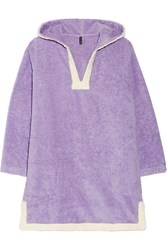Lisa Marie Fernandez Hooded Cotton Terry Beach Tunic Purple