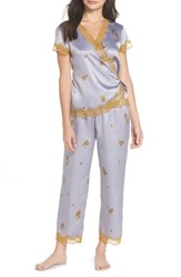 Chelsea 28 Chelsea28 Colette Pajamas Grey Lilac Falling Leaves