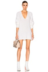 Calvin Klein Collection Chunky Luxury Light Cashmere Sweater In White