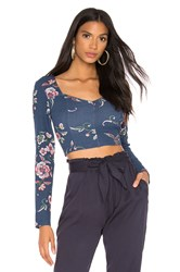 Bcbgeneration Cropped Long Sleeve Embroidered Top Blue