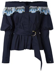 Peter Pilotto Off The Shoulder Belted Blouse Blue