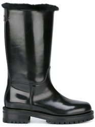 Dolce And Gabbana Fur Lined Biker Boots Black