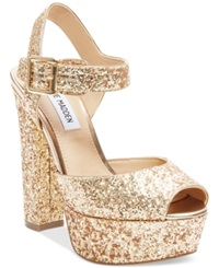 Steve Madden Jillyy Two Piece Platform Dress Sandals Women's Shoes Gold Glitter