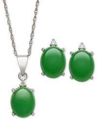 Macy's Dyed Jadeite 8 X 10Mm And Diamond Oval Pendant Necklace And Matching Stud Earrings Set In Sterling Silver
