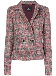 Paul Smith Ps By Double Breasted Tweed Jacket Red