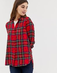 Superdry Check Shirt With Polka Dots Red