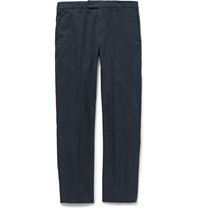 Brunello Cucinelli Slim Fit Cotton Twill Trousers Blue