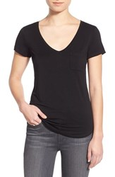 Paige Women's 'Lynnea' V Neck Pocket Tee Black