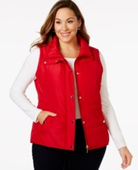 Styleandco. Style And Co. Sport Plus Size Quilted Snap Button Vest Only At Macy's New Red Amore