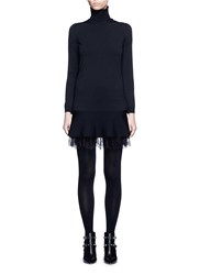 Valentino Floral Lace Hem Flare Turtleneck Dress Black
