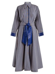 Vika Gazinskaya Faux Leather Trimmed Gingham Cotton Blend Dress Blue White