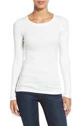 Women's Caslon Long Sleeve Scoop Neck Cotton Tee Ivory Egret