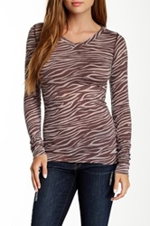 Go Couture Printed Long Sleeve Burnout Tee Brown