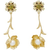 Erdem Gold And Green Crystal Blossom Drop Earrings