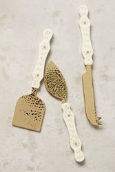 Anthropologie Hammered Brass Cheese Knives Cream