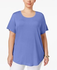 Jm Collection Plus Size Short Sleeve Top Only At Macy's New Soft Iris