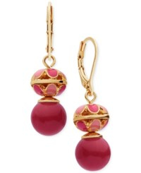 Anne Klein Gold Tone Red Stone Drop Earrings