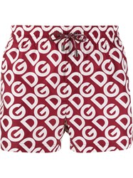 Dolce And Gabbana Logo Print Swimming Shorts Red