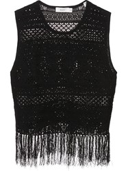 A.L.C. Fringed Crochet Tank Top Black