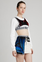 Nasir Mazhar Velvet Layered Cropped Sweatshirt White Multi