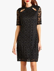 Yumi Lace Bodycon With Slit Neck Detail Black