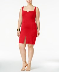 Love Squared Trendy Plus Size Front Slit Bodycon Dress Red
