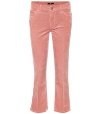 7 For All Mankind Cropped Bootcut Corduroy Jeans Pink