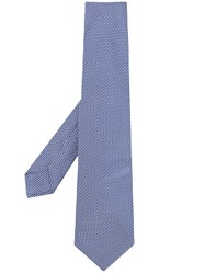 Kiton Pointed Tip Woven Pattern Tie Blue