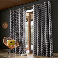 Orla Kiely Linear Stem Eyelet Curtains Charcoal Grey