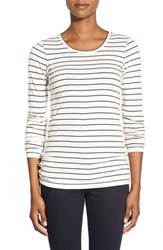 Women's Caslon Long Sleeve Scoop Neck Cotton Tee Heather Oatmeal Grey Stripe