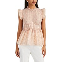 Brock Collection Ruffle Floral Lace Bustier Peplum Top Pink