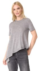 Pringle Of Scotland Asymmetrical Short Sleeve Sweater Grey Melange
