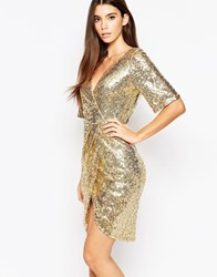 Tfnc Kimono Sleeve Sequin Dress With Wrap Skirt Shinygold