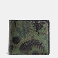 Coach Compact Id Wallet In Wild Beast Camo Print Pebble Leather Military Wild Beast