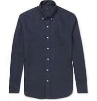 J.Crew Slim Fit Button Down Collar Linen Shirt Blue