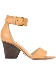 Paul Andrew Ankle Buckle Sandals Women Leather 39 Nude Neutrals