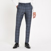 River Island Bright Blue Check Skinny Suit Trousers