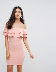 Ax Paris Double Ruffle Bodycon Dress Pink