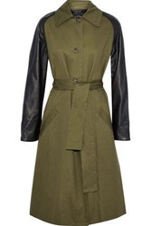 Veda Leather Paneled Cotton Twill Trench Coat Army Green