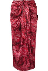 Ganni Tie Front Printed Silk Blend Satin Midi Skirt Red