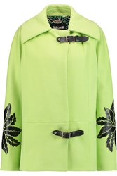 Just Cavalli Faux Leather Appliqued Wool Blend Coat Yellow