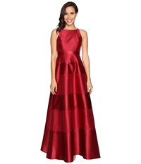 Adrianna Papell Halter Mikado Satin Stripe Gown Crimson Women's Dress Red