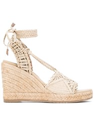 Paloma Barcelo Adjustable Strap Sandals Women Raffia Leather Rubber 38 Nude Neutrals