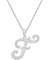 Macy's Diamond Accent Script Initial Pendant Necklace In Sterling Silver F