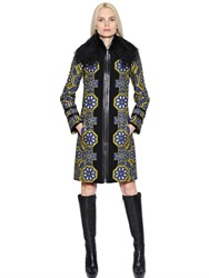 Andrew Gn Leather Trim Fur Jacquard And Crepe Coat