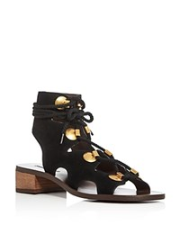 See By Chloe Gladiator Lace Up Sandals Black Gold