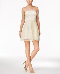 Bcbgeneration Strapless Lace Fit And Flare Dress Ivory