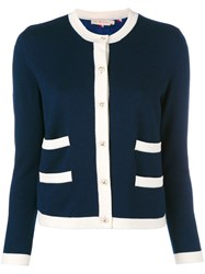 Tory Burch Contrast Trim Cardigan Blue